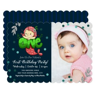 Mermaid First Birthday Cute Pink with Photo Option Invitation