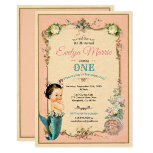 Mermaid First Birthday Invitaion Pink 1st Bday Invitation
