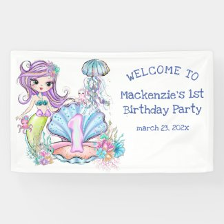Mermaid First Birthday | Whimsical Party Welcome Banner