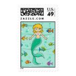 Mermaid & Fish Postage Stamp