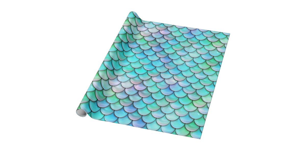 mermaid fish scale pattern wrapping paper | Zazzle.com