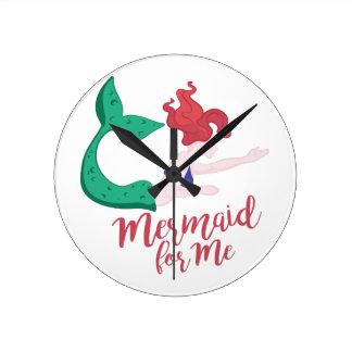 Mermaid For Me Round Clock