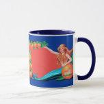 Mermaid Fruit Crate Label Art Coffee Mug