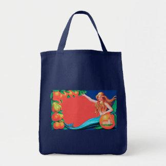 Mermaid Fruit Crate Label Art Tote Bag