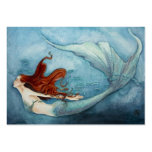 Mermaid Gift Tag Red B3 Large Business Cards (Pack Of 100)