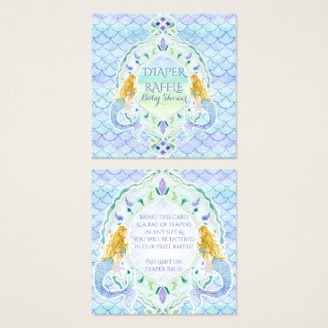 Beach Themed Mermaid Girl Baby Shower Diaper Raffle Watercolor Square Business Card