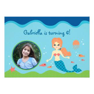 Mermaid Girl Birthday Party Photo Invitation