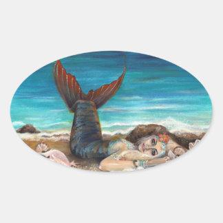 Mermaid Girl Oval Sticker