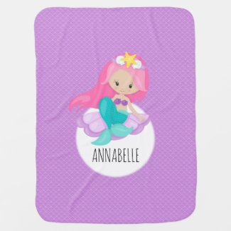Mermaid Girl Princess Purple Scales Sea Shell Cute Baby Blanket