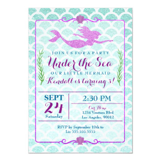 Mermaid Girl's Birthday Party Invitation at Zazzle