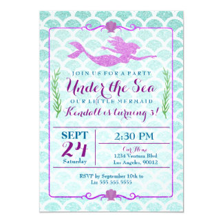 mermaid girls birthday party invitation mermaid girls birthday party invitation - Girl Birthday Party Invitations