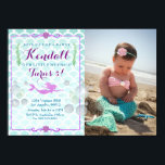 "Mermaid Girl&#39;s Birthday Party Photo Invitation<br><div class=""desc"">If you need custom colors or assistance in creating your design,  feel free to contact me at zazzlepartydepot@gmail.com. I look forward to hearing from you!</div>"