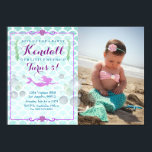 """Mermaid Girl&#39;s Birthday Party Photo Invitation<br><div class=""""desc"""">If you need custom colors or assistance in creating your design,  feel free to contact me at zazzlepartydepot@gmail.com. I look forward to hearing from you!</div>"""