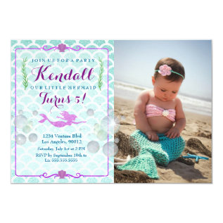 Mermaid Girl's Birthday Party Photo Invitation at Zazzle