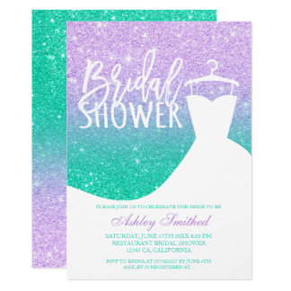 Mermaid glitter purple teal dress Bridal shower Invitation