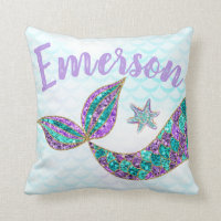 mermaid glitter tail with your name, throw pillow