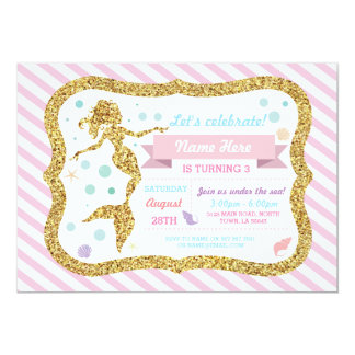 Mermaid Gold Glitter Pink Stripe Invitation