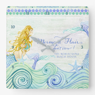 Mermaid Hair Beach House Personalized Watercolor Square Wall Clock