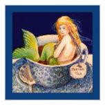 "Mermaid II Tea Party Invitations 5.25"" Square Invitation Card"