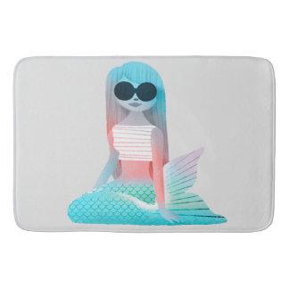 Mermaid illustration bathroom mat