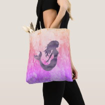 Mermaid Impressionist Ombré Painting Tote Bag