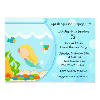 Mermaid in a Fish Bowl Birthday Card