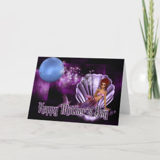 Mermaid in Clam Shell - Fantasy Mother's Day Card