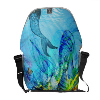 mermaid in colorful sea courier bag