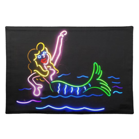 Mermaid in Neon Cloth Placemat