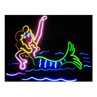 Mermaid in Neon Postcard