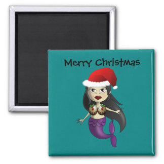 Mermaid in Santa Hat and Christmas Puds 2 Inch Square Magnet