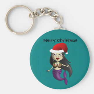Mermaid in Santa Hat and Christmas Puds Basic Round Button Keychain