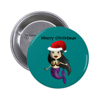 Mermaid in Santa Hat and Christmas Puds Button