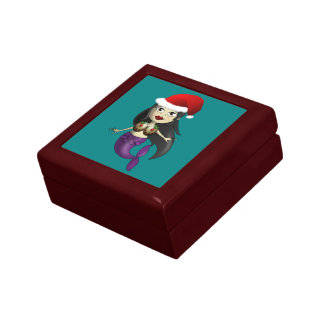 Mermaid in Santa Hat and Christmas Puds Jewelry Box