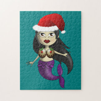 Mermaid in Santa Hat and Christmas Puds Jigsaw Puzzle