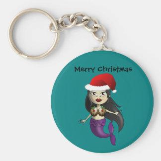 Mermaid in Santa Hat and Christmas Puds Keychain