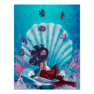 Mermaid in Shell Poster