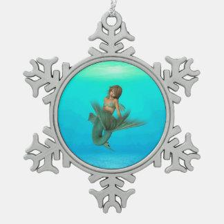 Mermaid in the Deep Blue Sea Snowflake Pewter Christmas Ornament