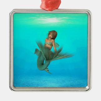 Mermaid in the Deep Blue Sea Square Metal Christmas Ornament
