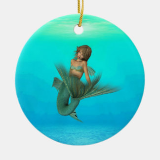 Mermaid in the Deep Blue Sea Double-Sided Ceramic Round Christmas Ornament