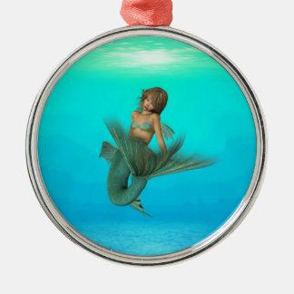 Mermaid in the Deep Blue Sea Round Metal Christmas Ornament