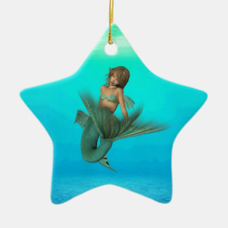 Mermaid in the Deep Blue Sea Double-Sided Star Ceramic Christmas Ornament