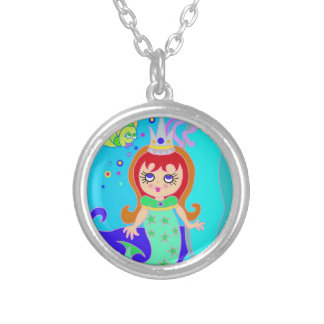 Mermaid in the Mirror Round Pendant Necklace
