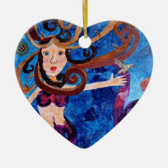 Mermaid in the Sea with Birds Art Painting Ceramic Ornament