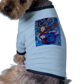 Mermaid in the Sea with Birds Art Painting Dog T Shirt
