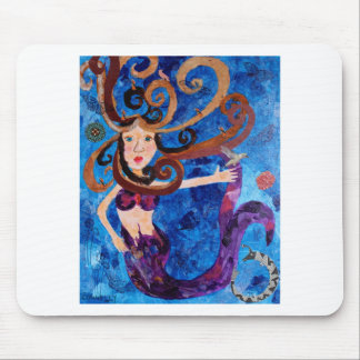 Mermaid in the Sea with Birds Art Painting Mouse Pad