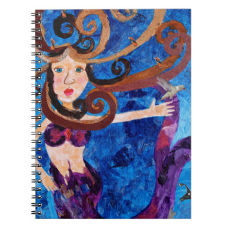 Mermaid in the Sea with Birds Art Painting Spiral Note Books