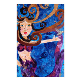 Mermaid in the Sea with Birds Art Painting Stationery Design
