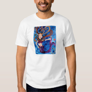 Mermaid in the Sea with Birds Art Painting T Shirt
