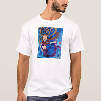 Mermaid in the Sea with Birds Art Painting T-Shirt